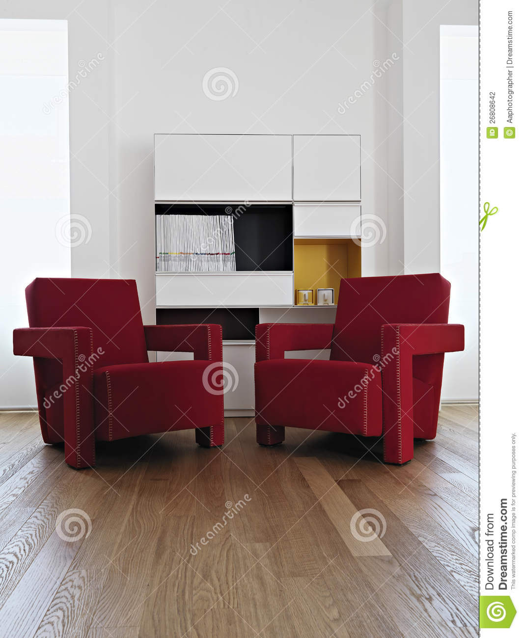 Red Red Armchairs In The Modern Living Room Stock Photo ...