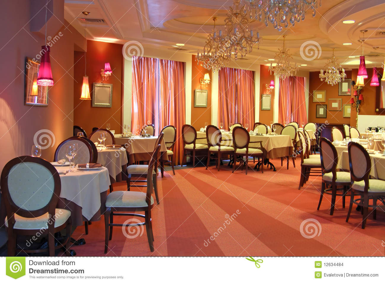 Red restaurant interior stock images image