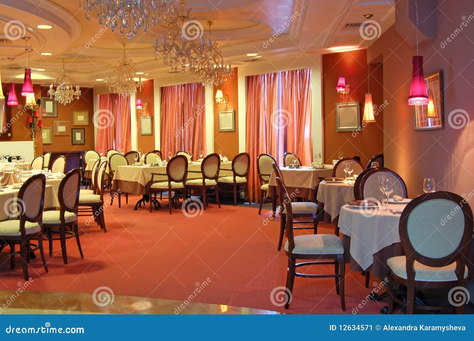Red restaurant interior stock image