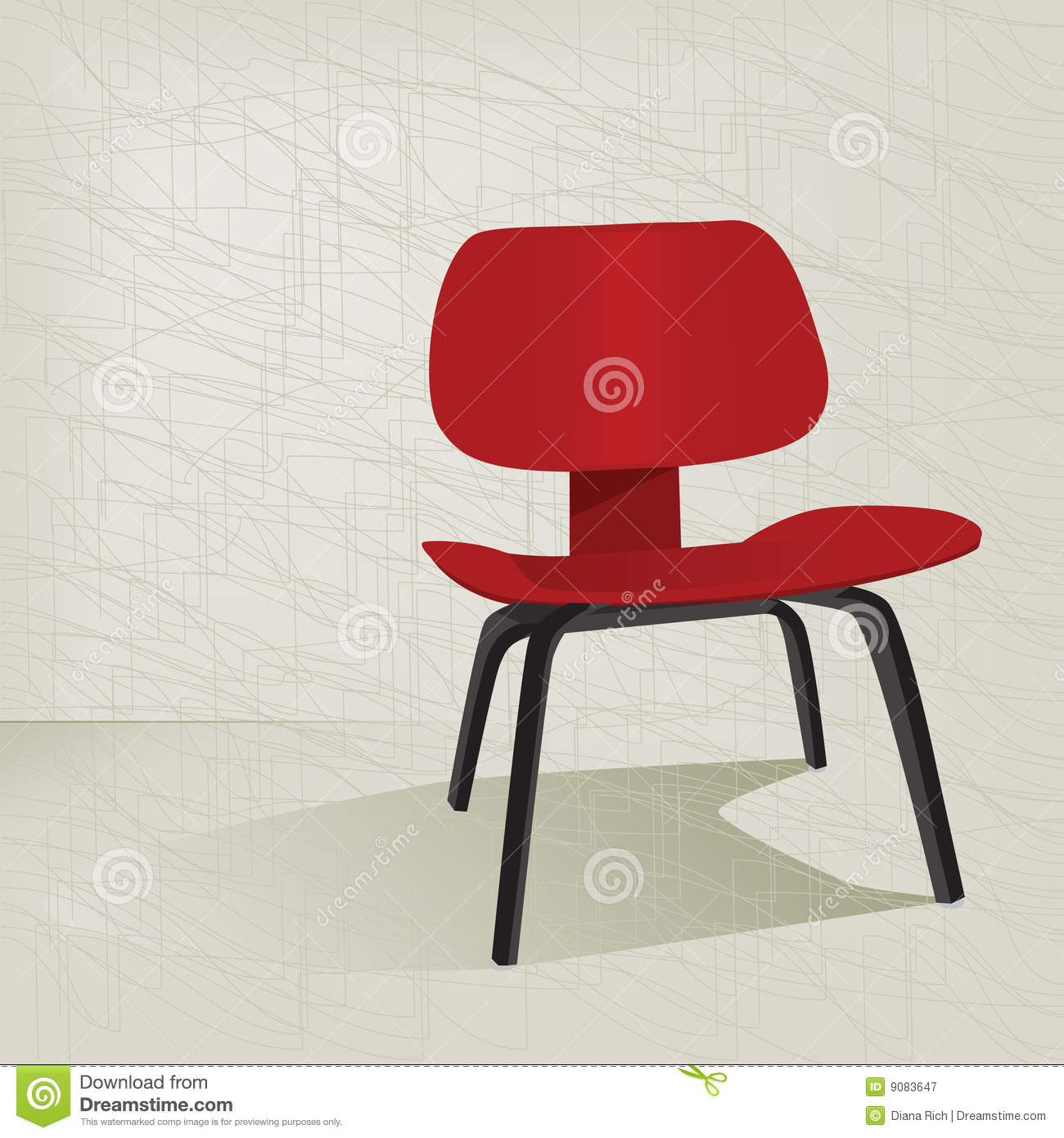 red retro 50s chair royalty free stock photography image