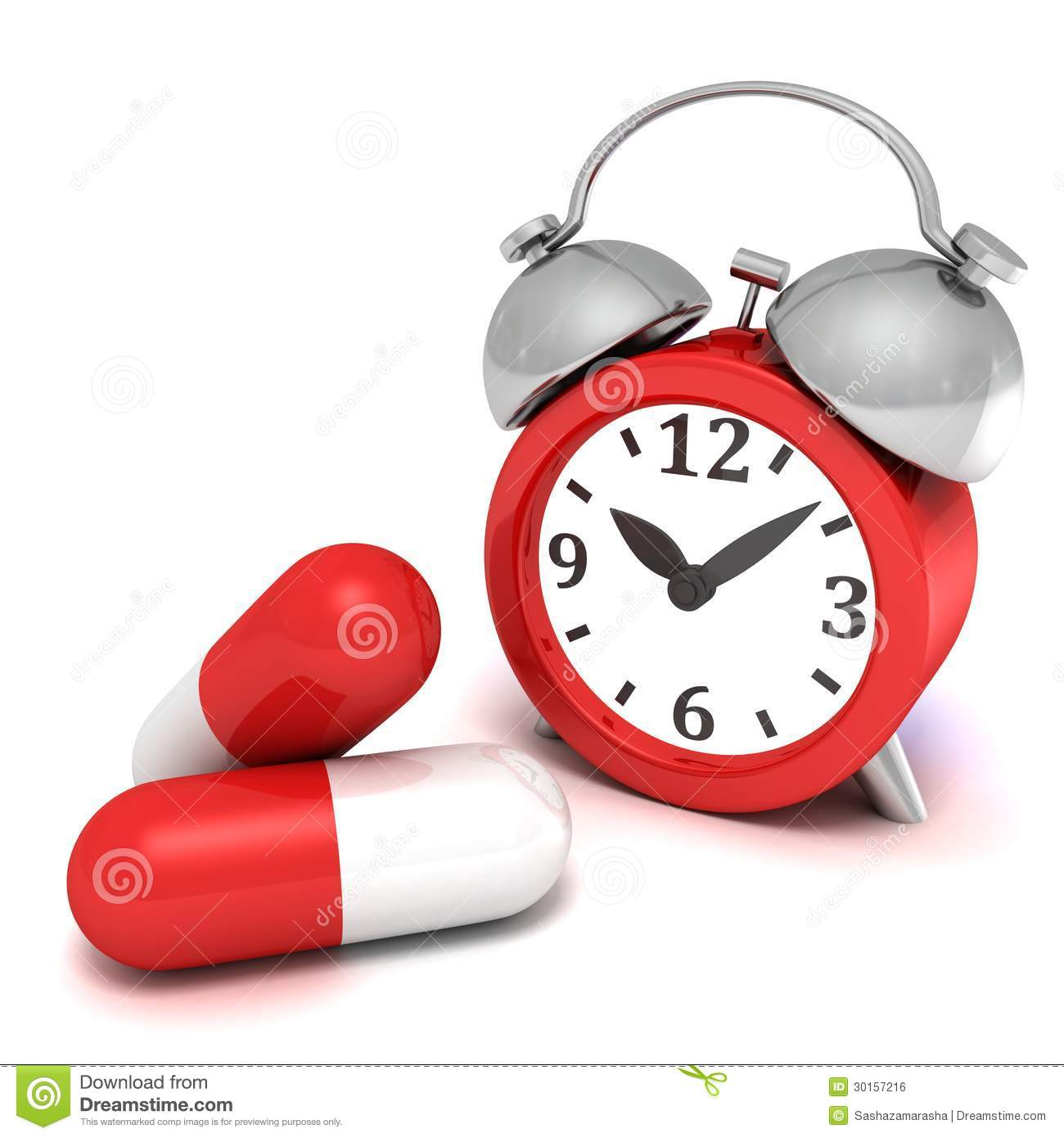 Red Retro Alarm Clock And Big Medicine Pills Royalty Free Stock Image ...