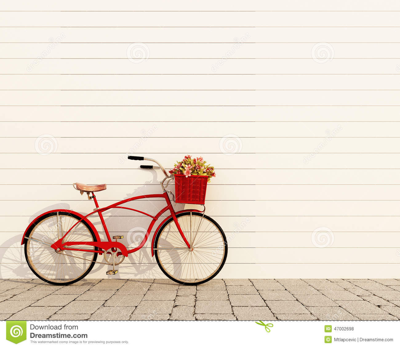 Red Retro Bicycle With Basket And Flowers In Front Of The