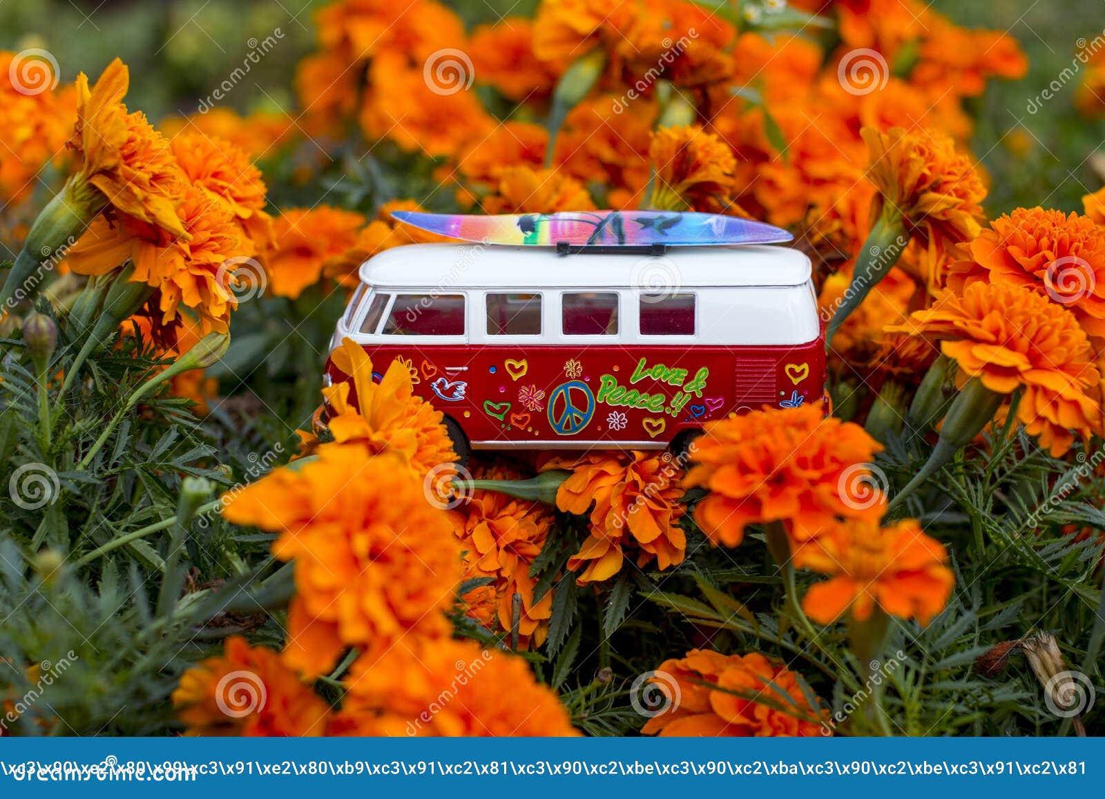 Red retro bus.