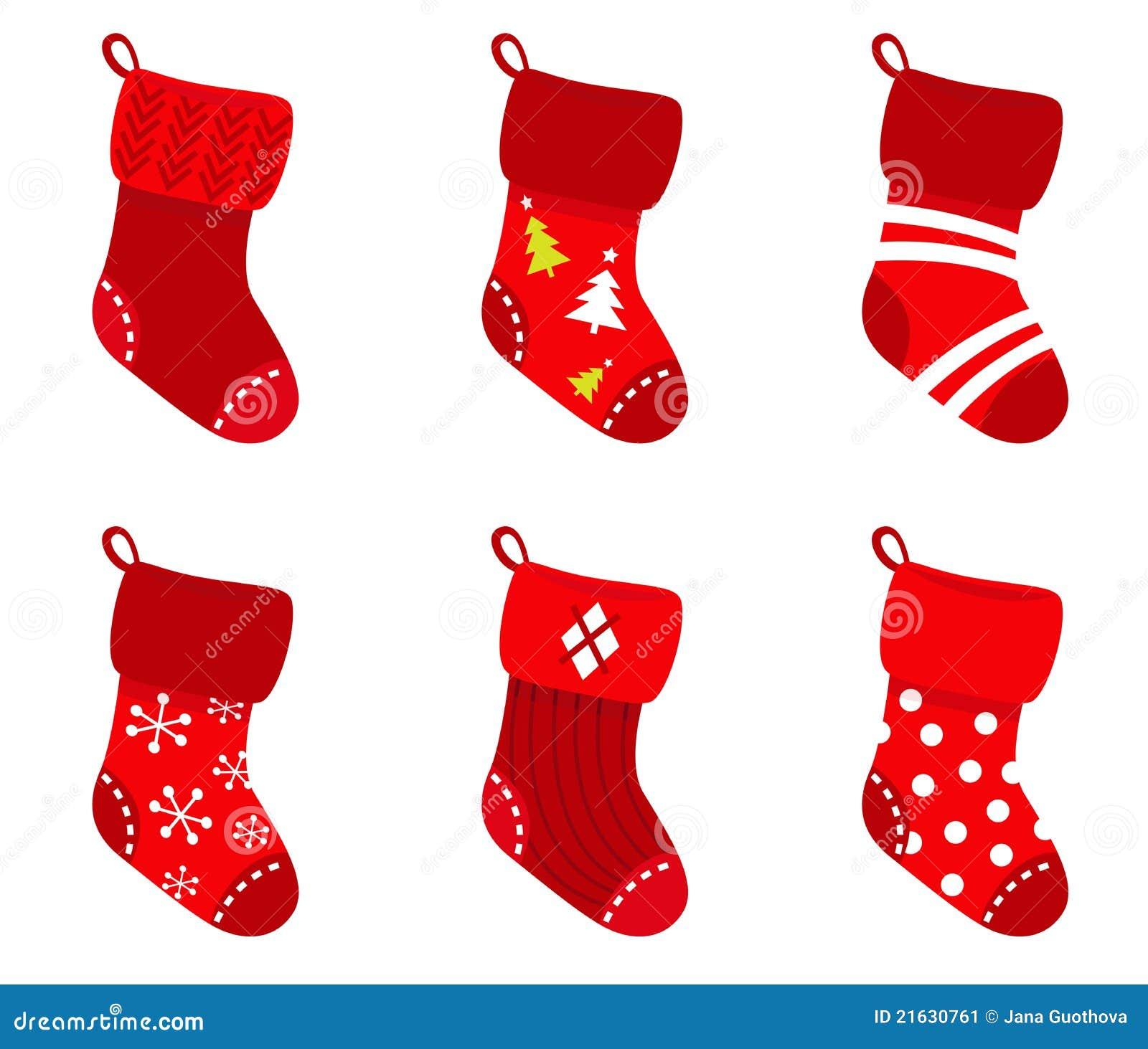 Red Retro Christmas Socks Collection. Stock Image - Image: 21630761