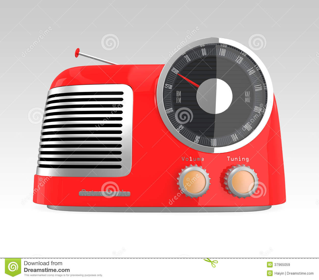 Download Red retro style radio stock illustration. Illustration of chrome - 37965059