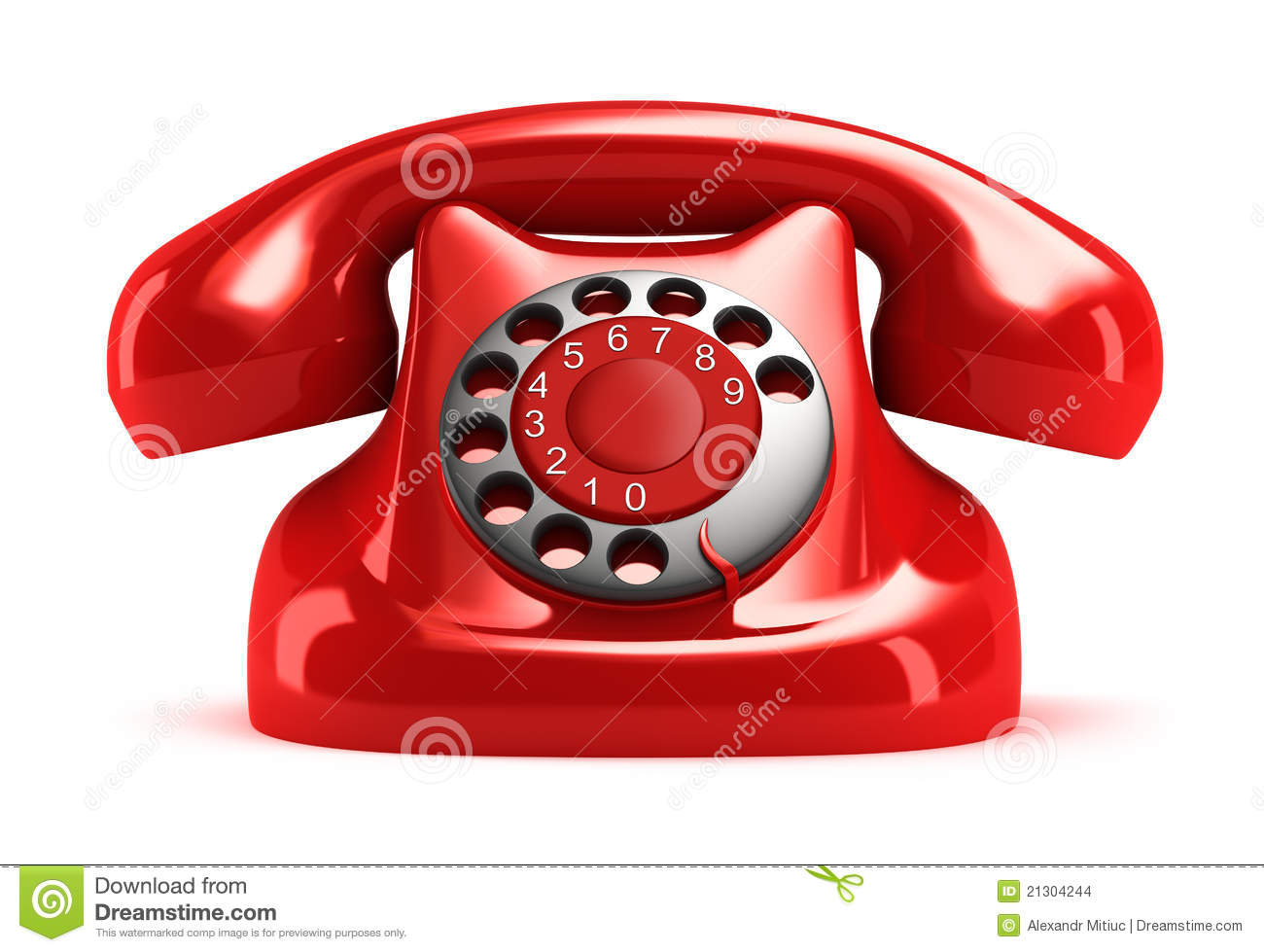 Red Retro Telephone, Front View. Stock Images - Image: 21304244
