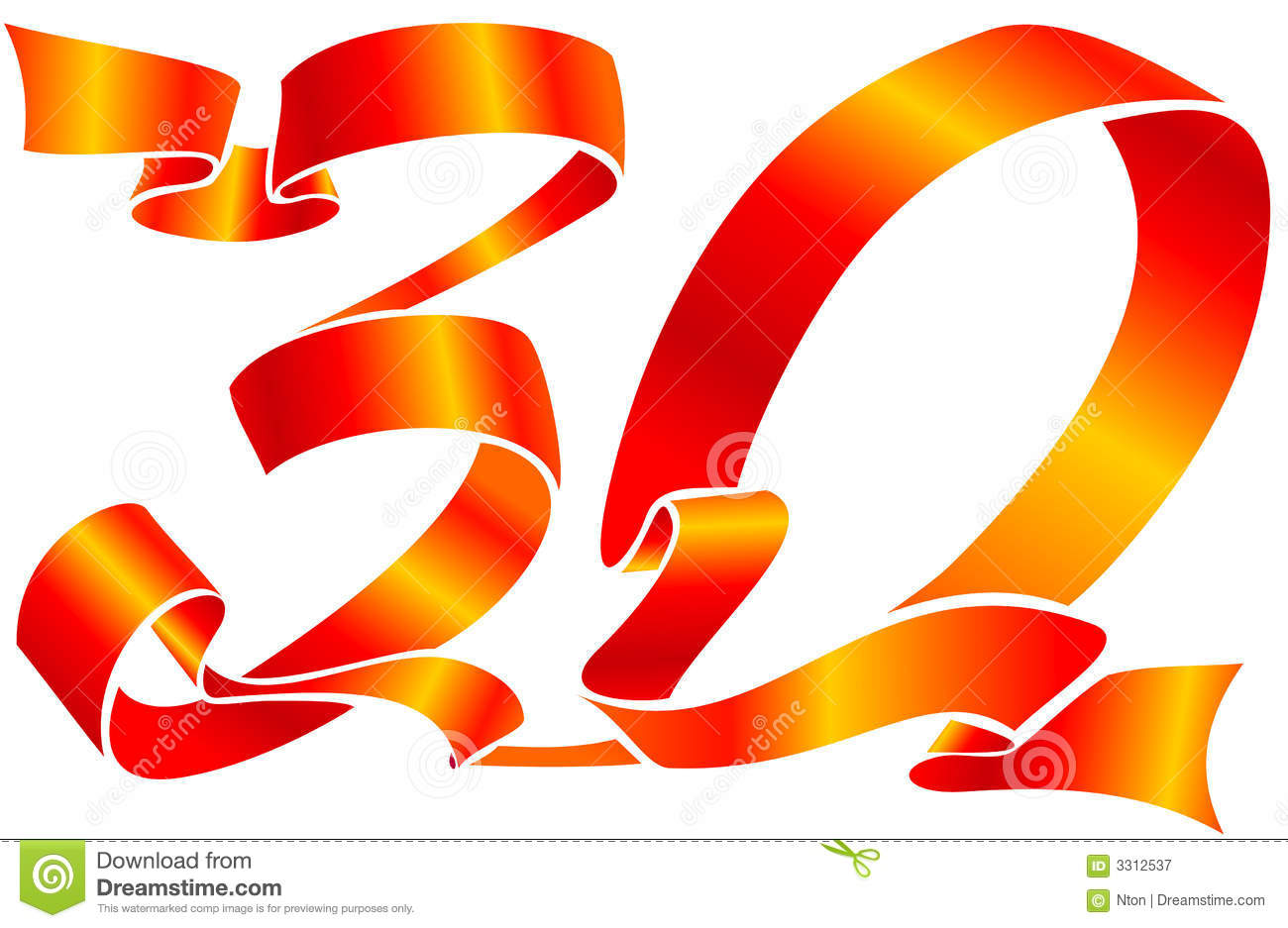 Red Ribbon - The 30 Number Royalty Free Stock Photography - Image ...