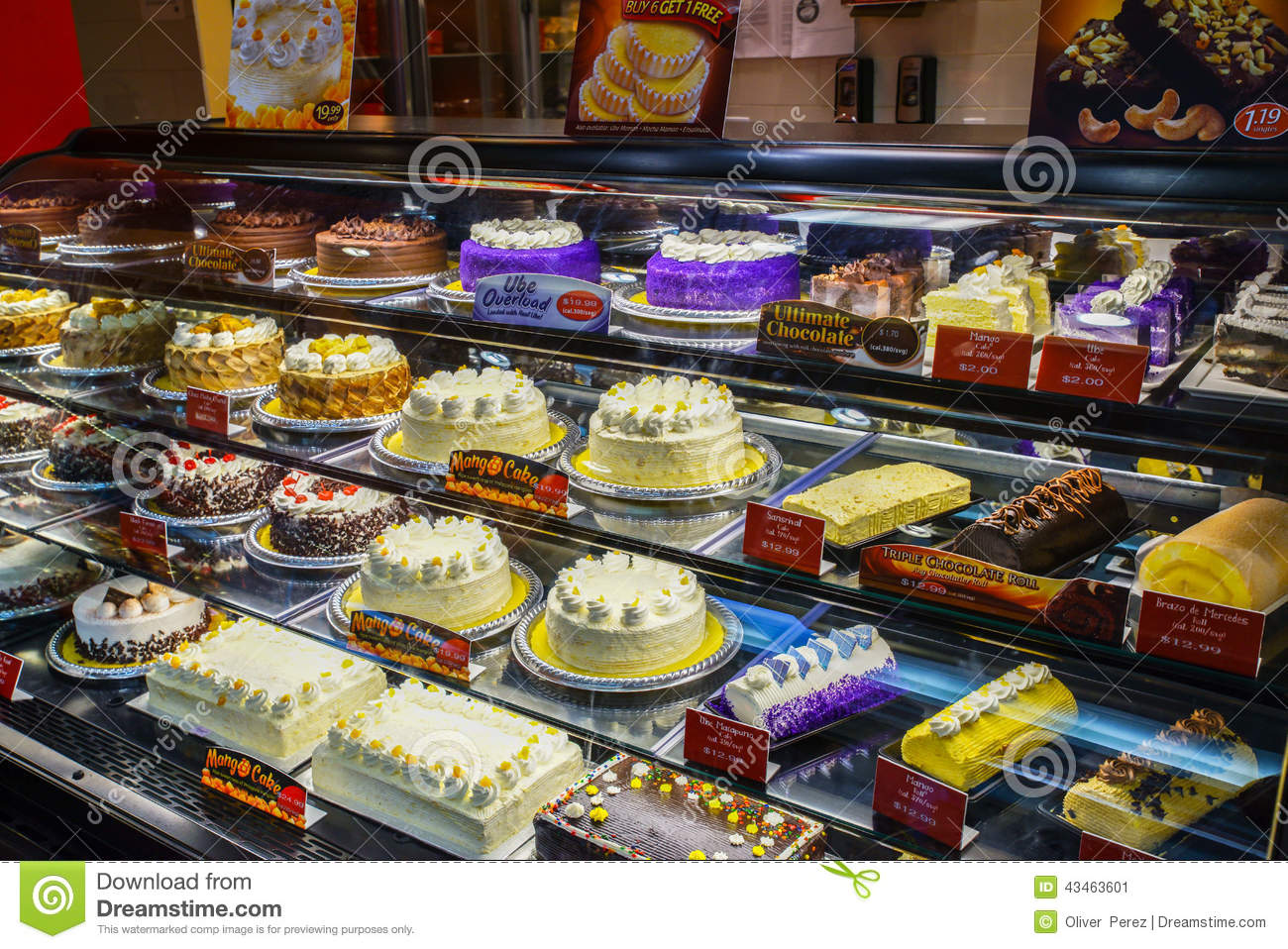 Red Ribbon Bakeshop, Cakes On Display Editorial Photo - Image ...