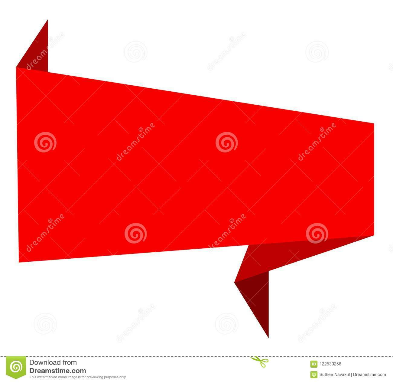 Red Ribbon Banner Icon On White Background Abstract Red Banner