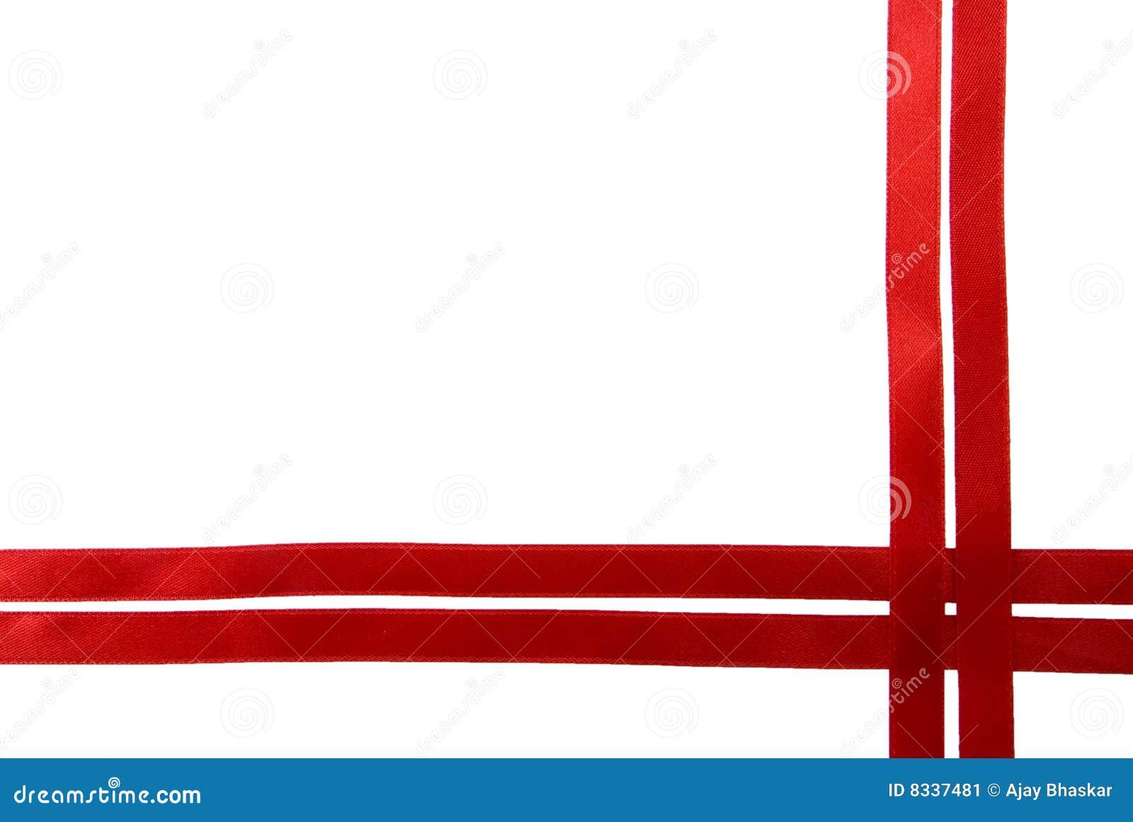 red ribbon border stock image