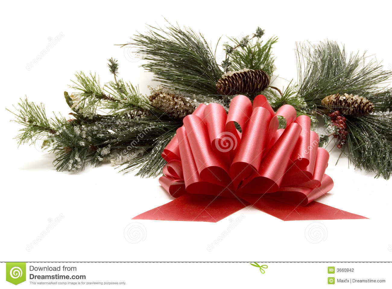 Red Ribbon Bow And Christmas Tree Stock Photo