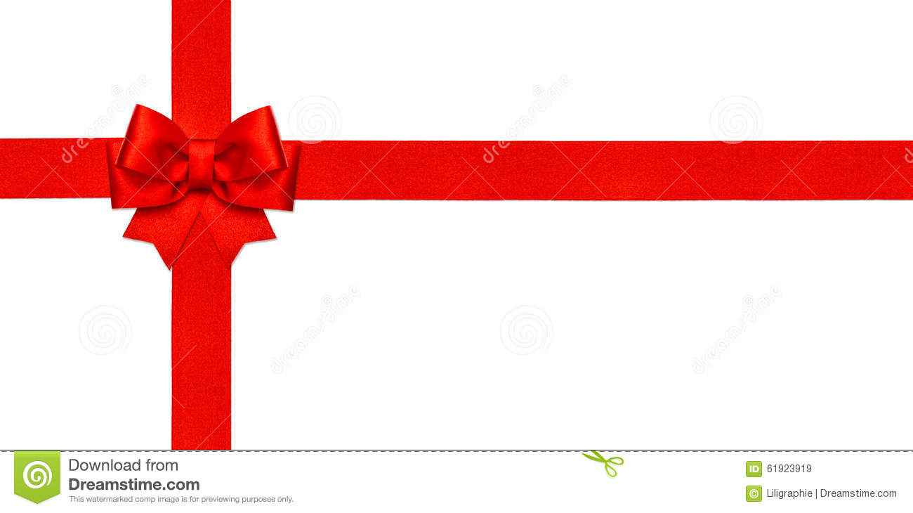 Red ribbon bow isolated on white gift card concept stock image gift card concept royalty free stock photo negle Images