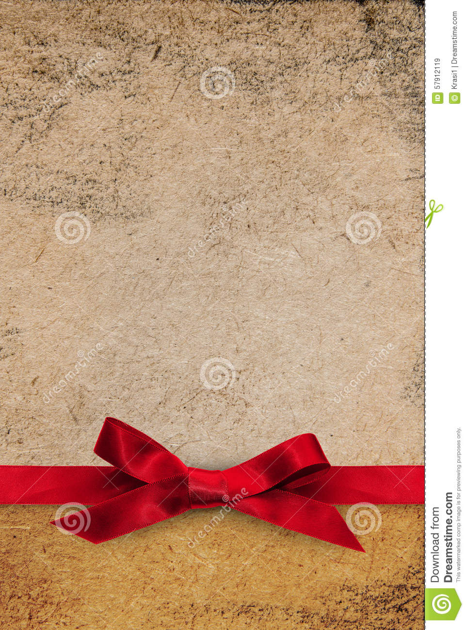 Red Ribbon Bow On Textured Paper Background