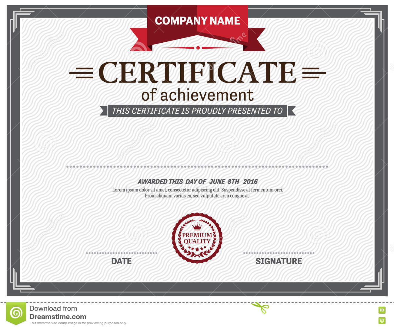 Red ribbon certificate diploma template vector illustration stock royalty free vector download red ribbon certificate diploma template yadclub Image collections