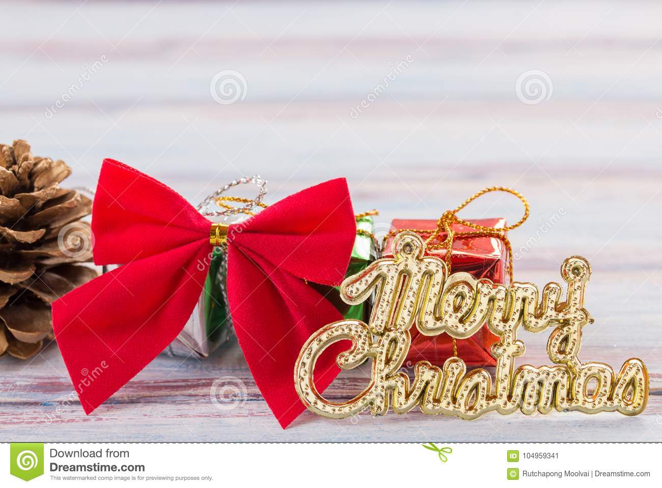 Red ribbon and christmas decoration on old grunge wooden table b stock image image of merry - Grune dekoration ...