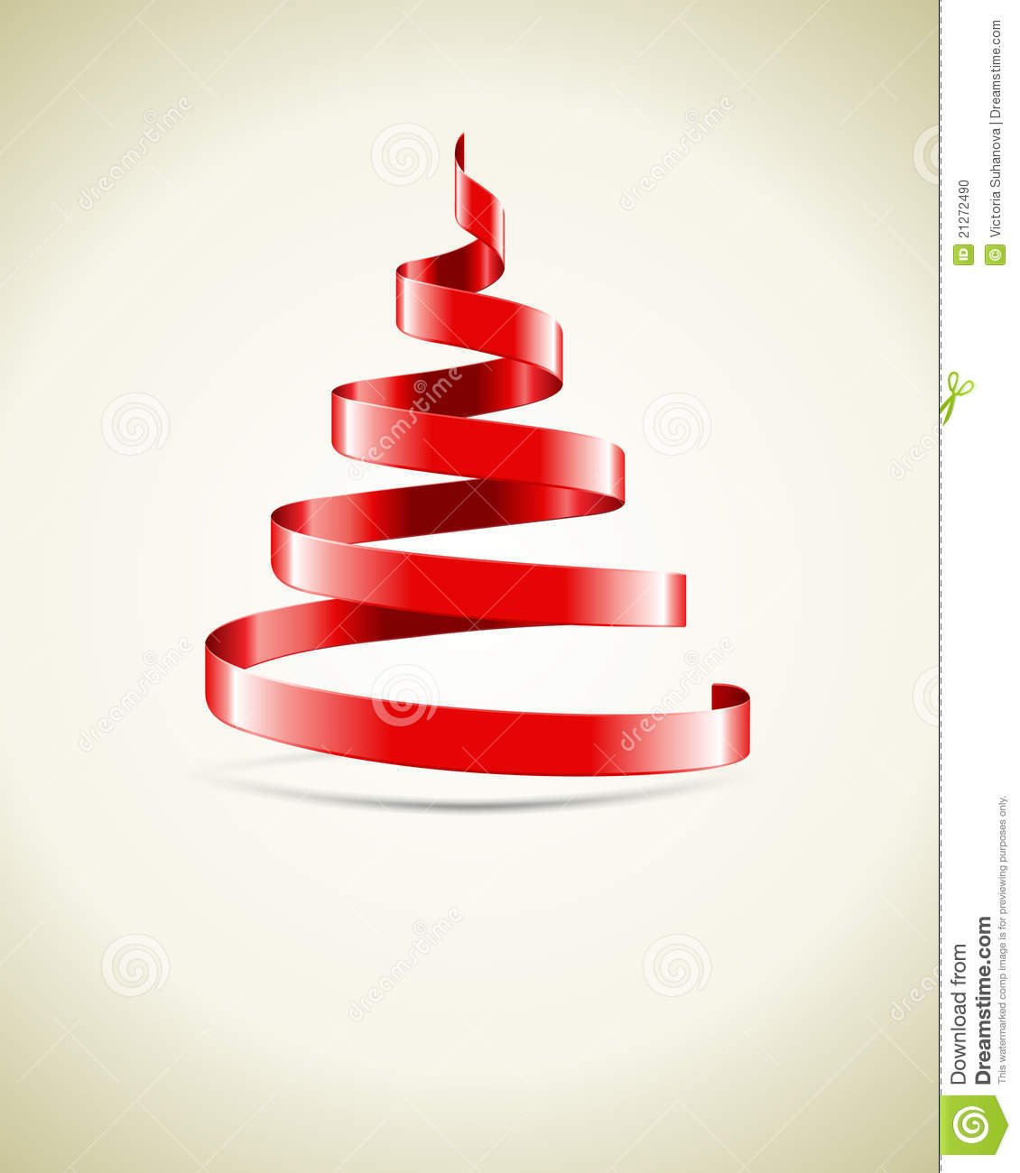 Red Ribbon Christmas Tree Stock Illustration. Illustration
