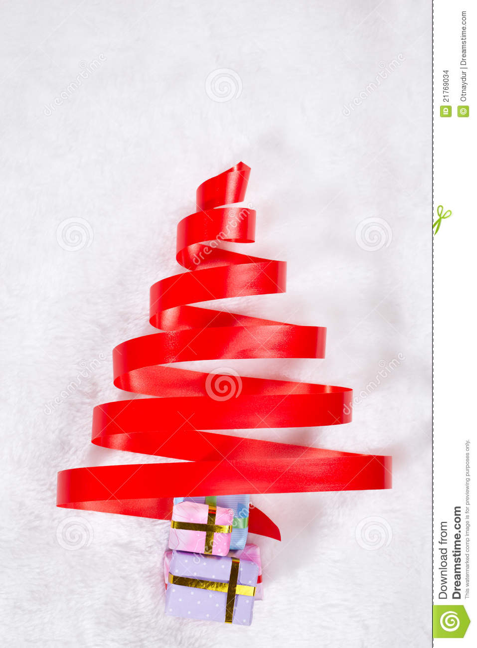 Red ribbon christmas tree stock images image 21769034 for Red ribbon around tree