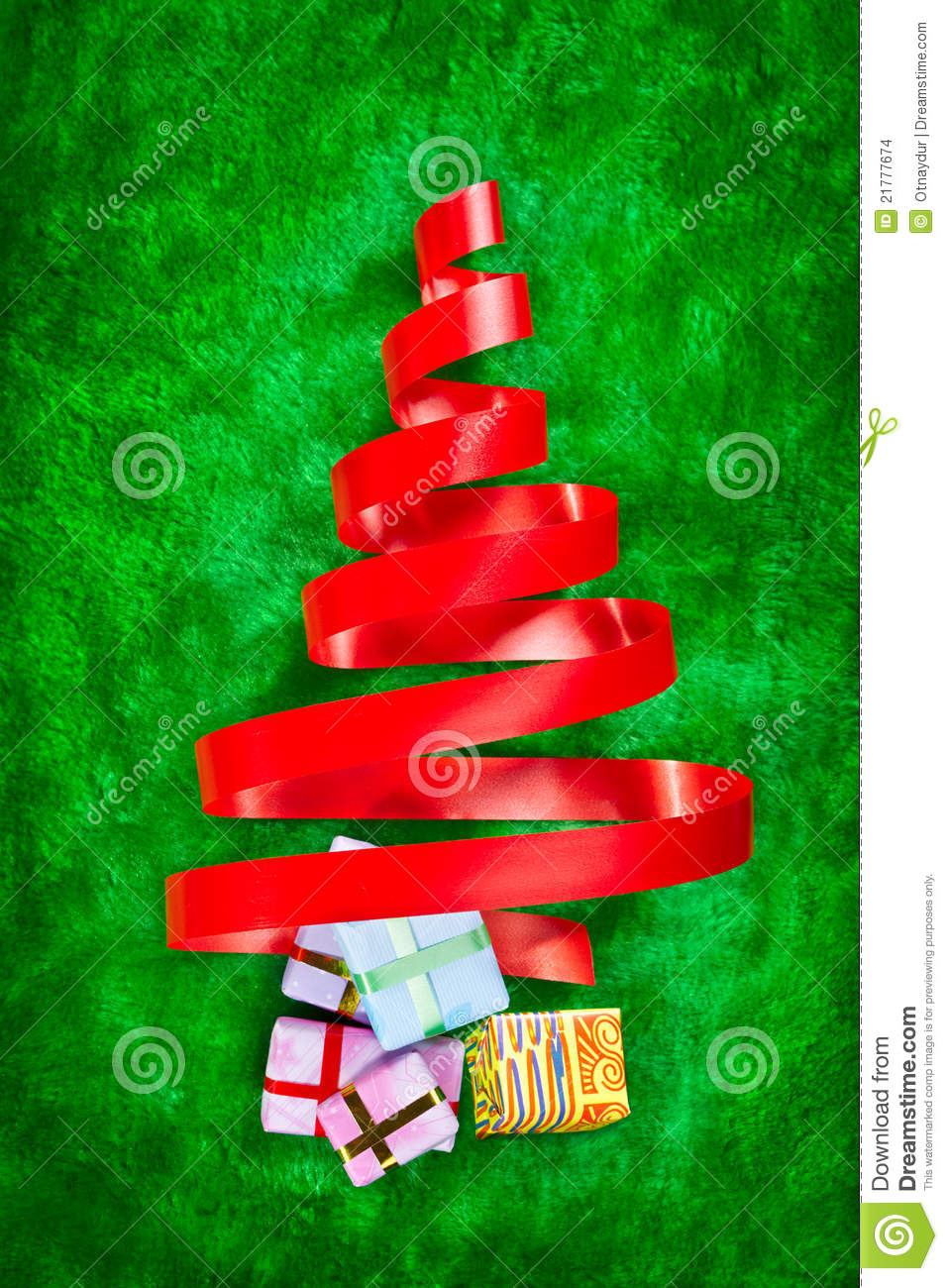 Red ribbon christmas tree stock images image 21777674 for Red ribbon around tree