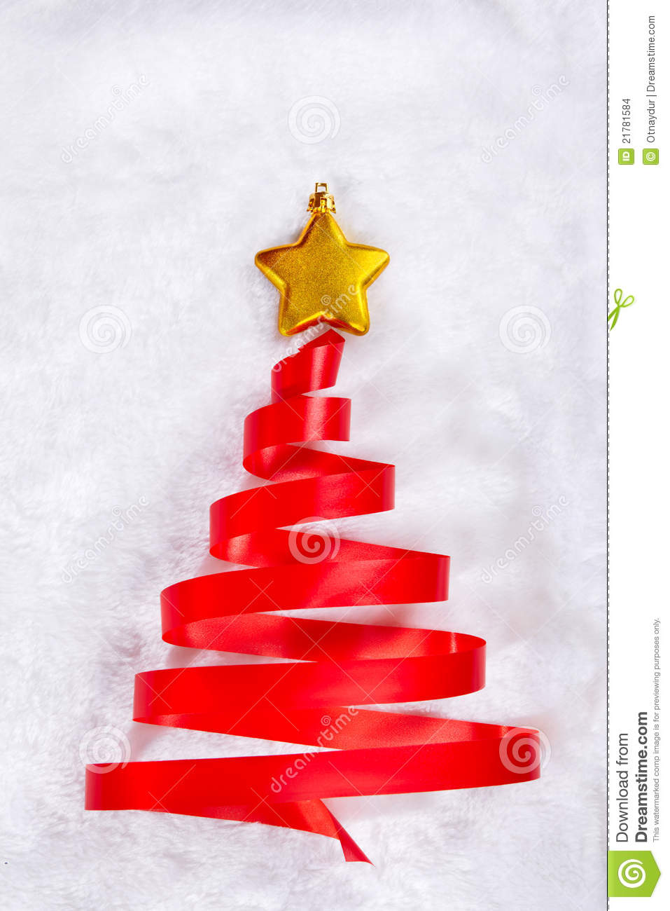 Red ribbon christmas tree stock images image 21781584 for Red ribbon around tree