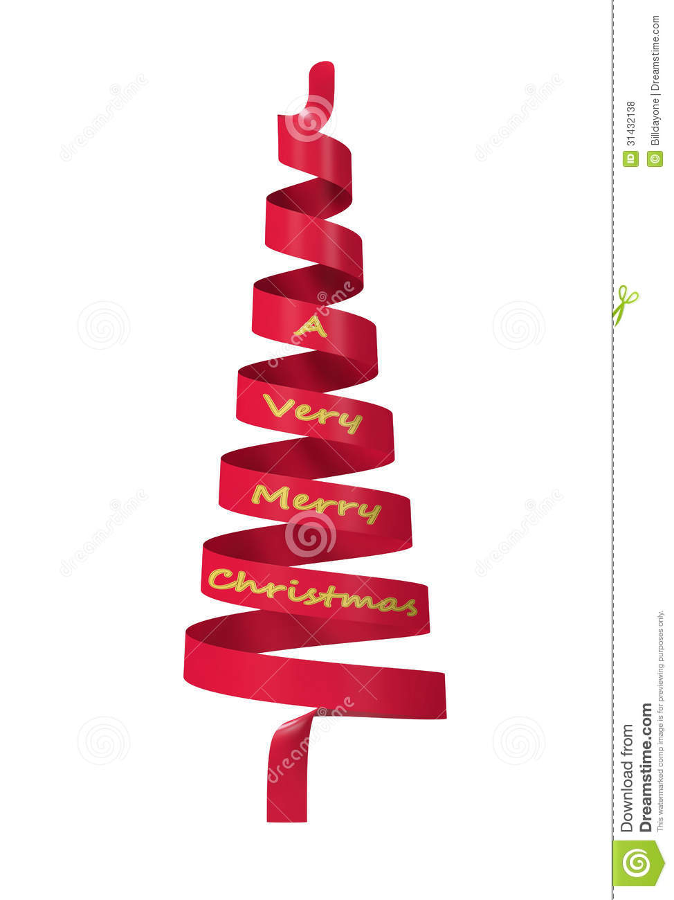 Red ribbon christmas tree royalty free stock photos for Red ribbon around tree