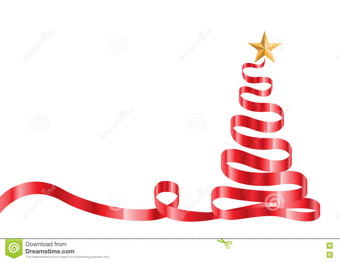 Red Ribbon Christmas Tree And Star On White Vector. Stock