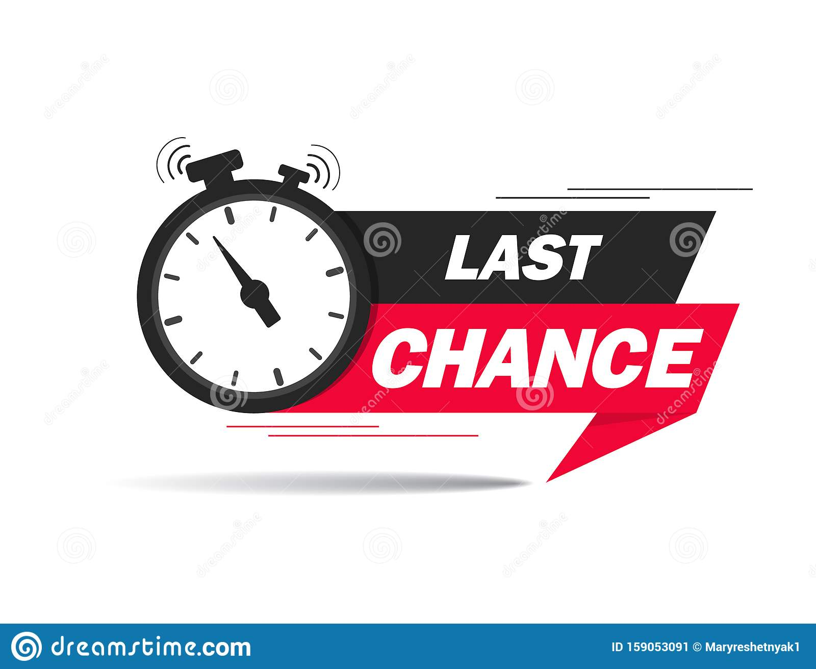 Red ribbon with clock and last chance seal. Sale banner with countdown alarm clock for retail, shop, social media, advertising.