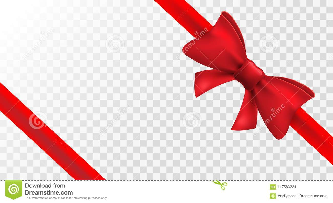 Red ribbon with red bow. Vector isolated bow decoration for holiday present. Gift element for card design