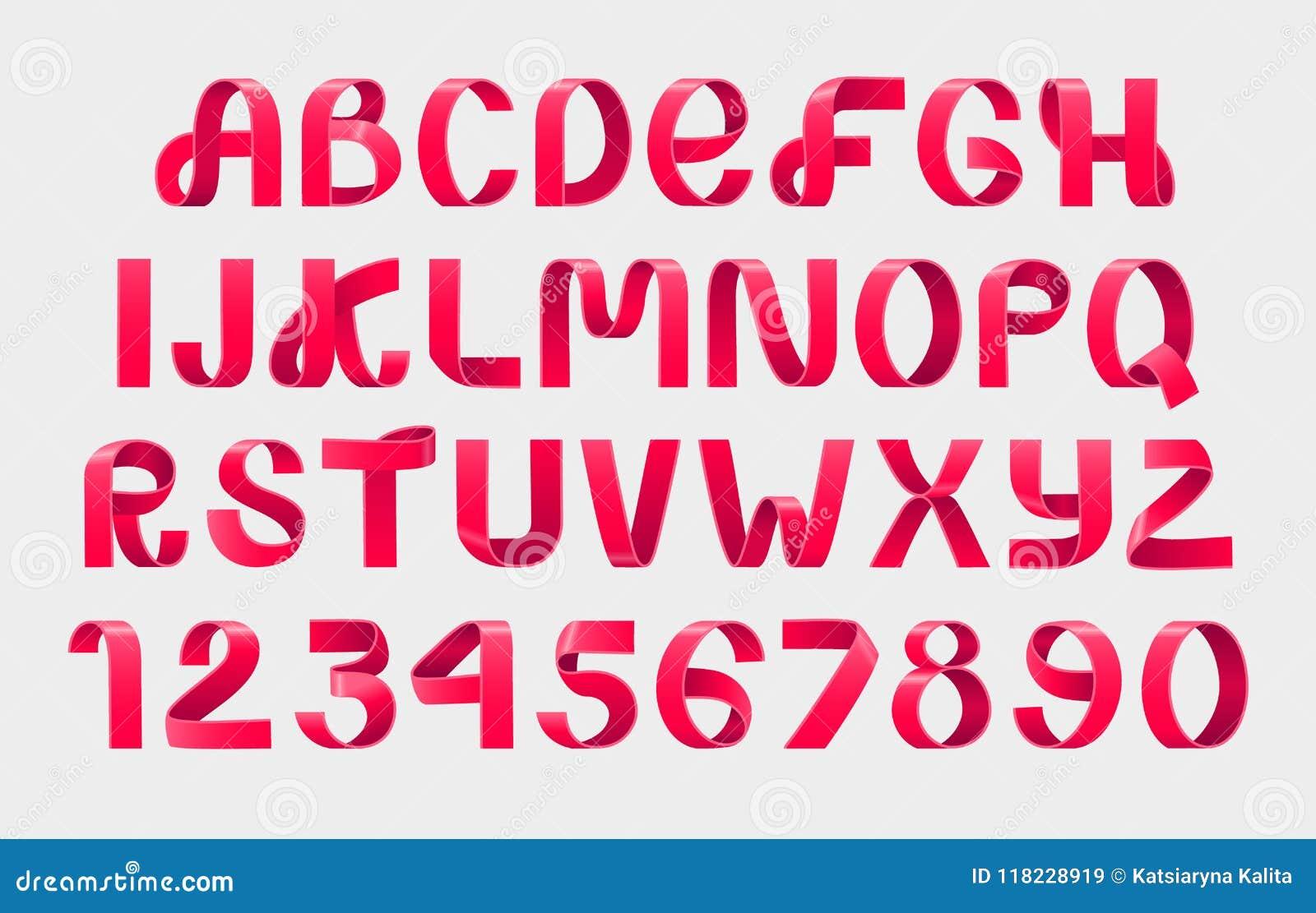 Red Ribbon script font  stock vector  Illustration of