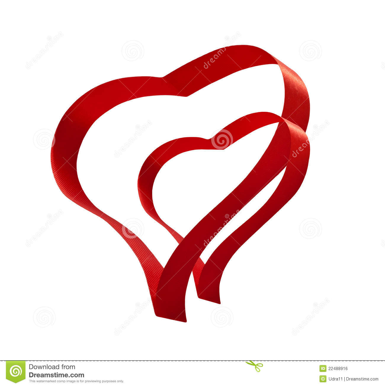 Red Ribbon Two Hearts Valentines Love Sign Royalty Free