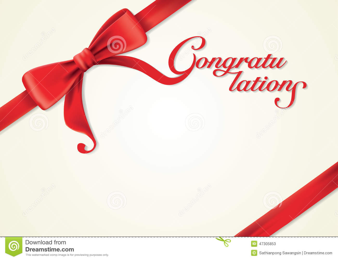Red Ribbons And Greeting Card Bows Congratulations Stock