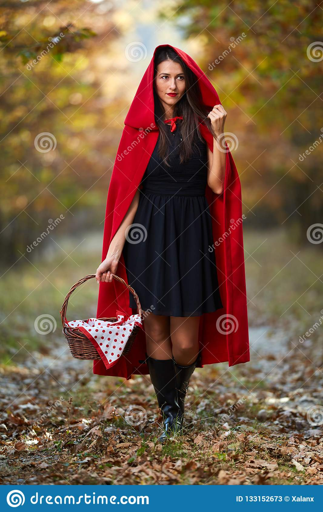 Red Riding Hood Cosplay In The Forest Stock Image - Image ...
