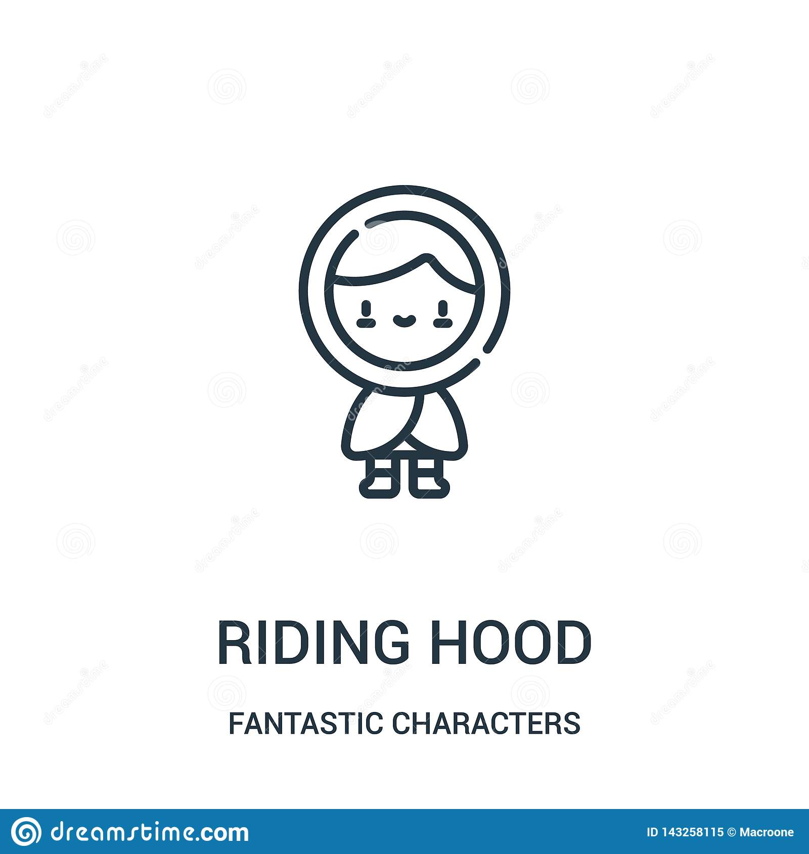 red riding hood icon vector from fantastic characters collection. Thin line red riding hood outline icon vector illustration