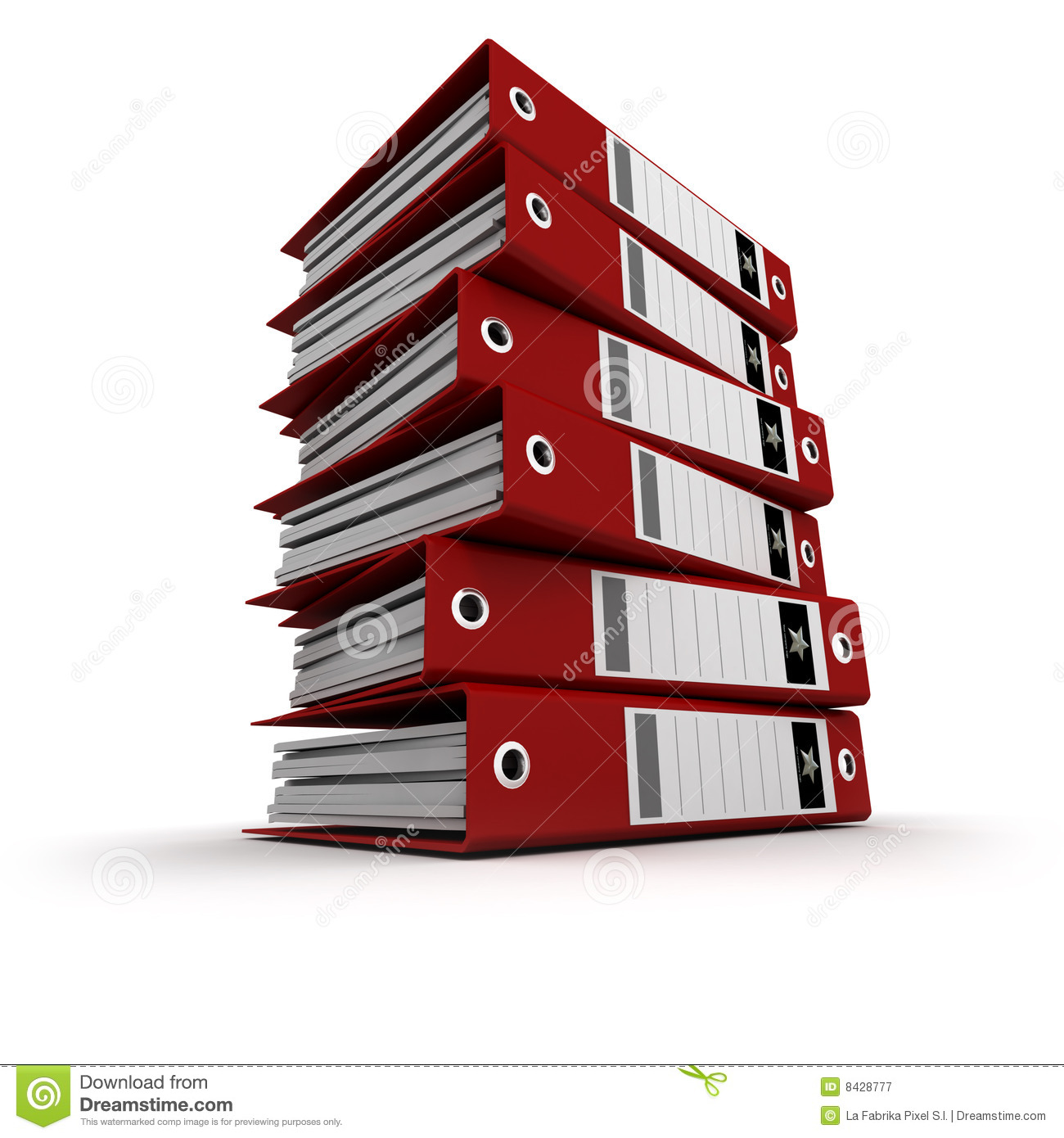 Red ring binders on a pile
