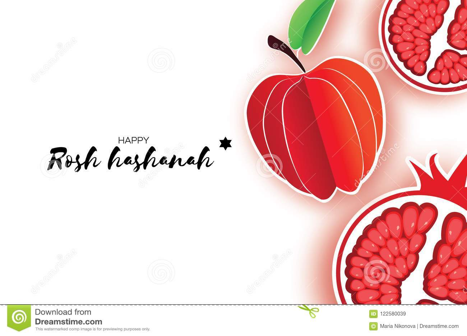 Red Ripe Pomegranate And Apple Jewish New Year Rosh Hashanah