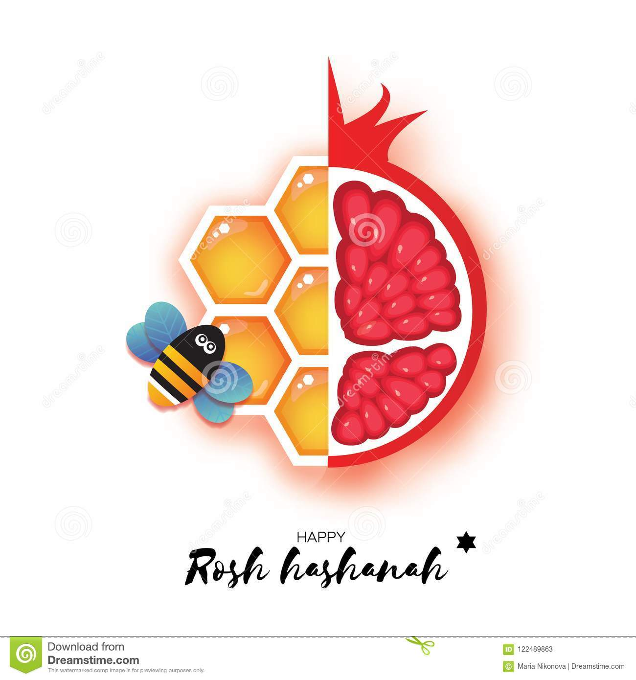 red ripe pomegranate and gold honeycomb jewish new year rosh hashanah greeting card