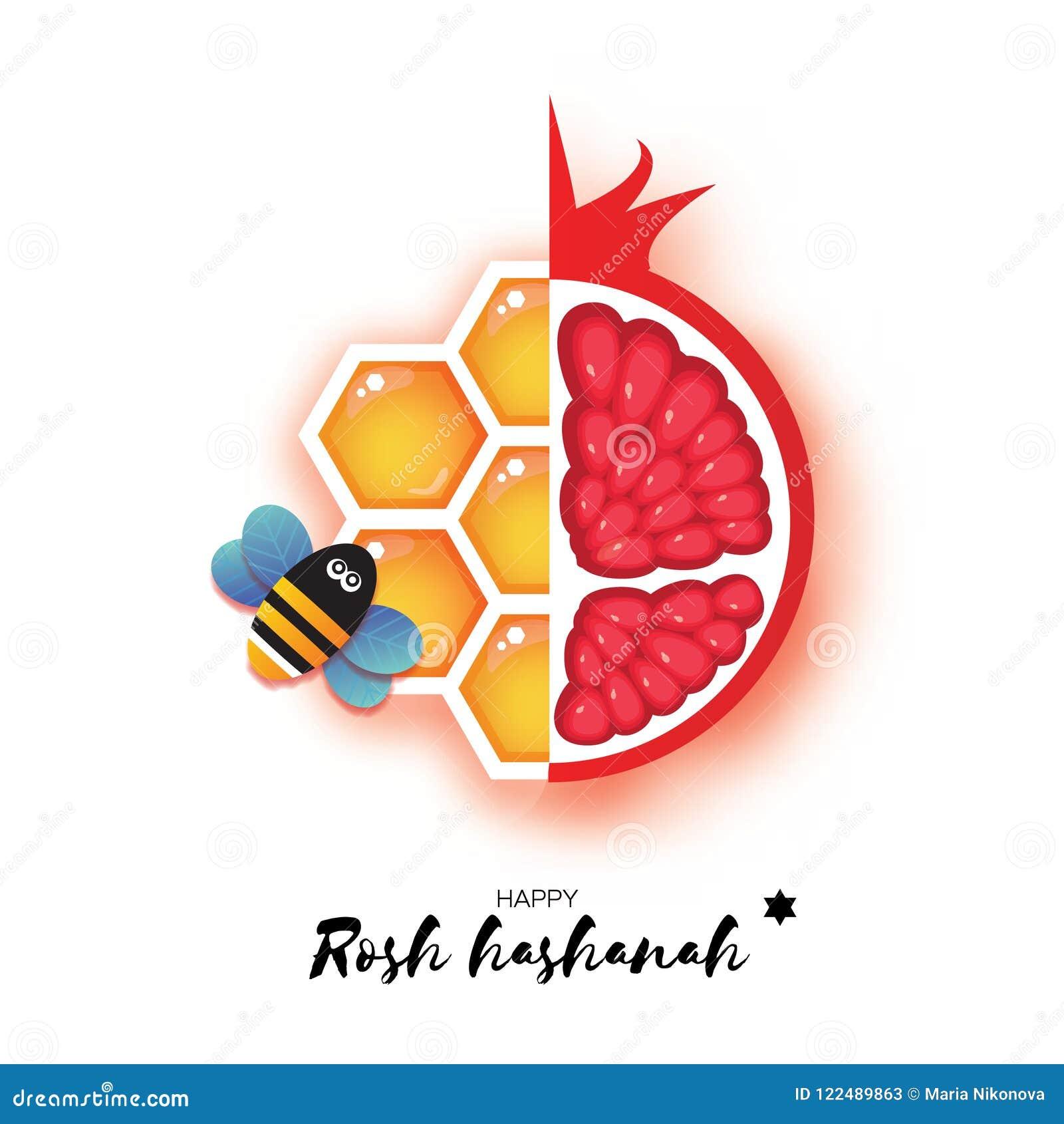 red ripe pomegranate and gold honeycomb jewish new year rosh hashanah greeting card