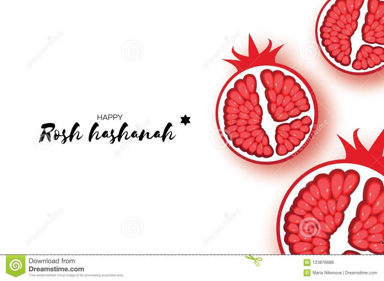 Red Ripe Pomegranate. Jewish New Year, Rosh Hashanah Greeting Card ...