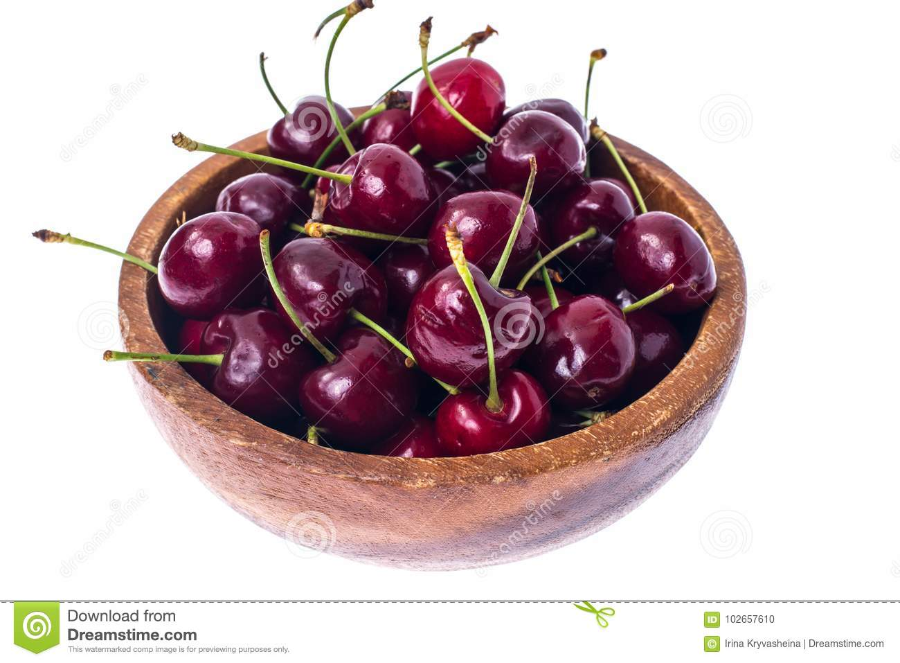 Red, Ripe, Sweet Cherry In Wooden Bowl, Isolated On White ...