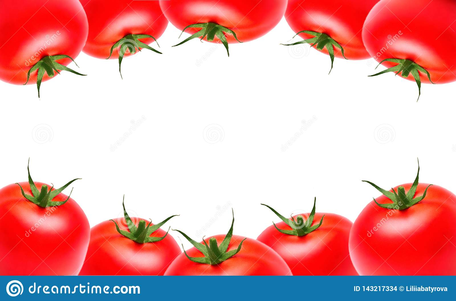 Red ripe tomatoes on the top and bottom on a white isolated background, copyspace. Vegetables, healthy eating, market