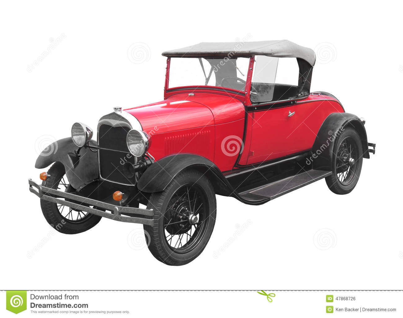 Red roadster car isolated.