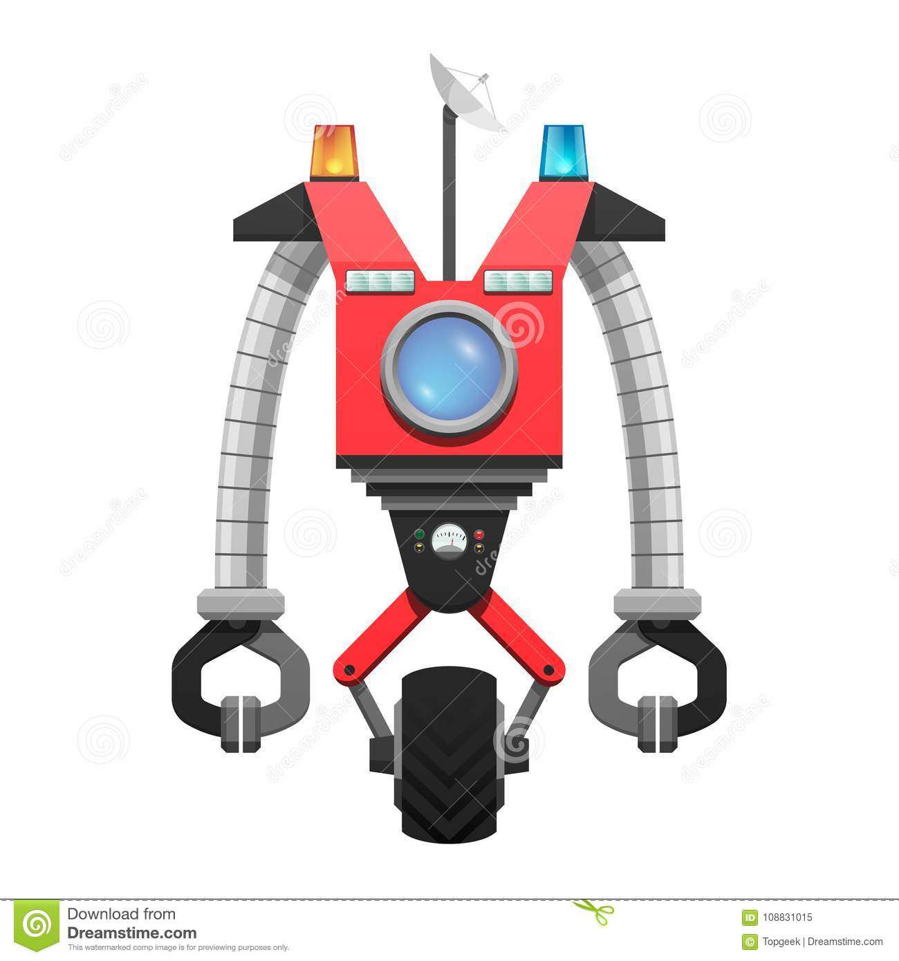 Red Robot with Satellite and Screen Illustration