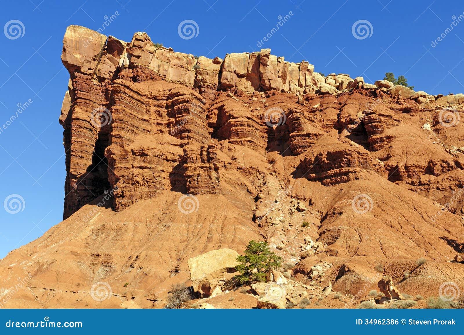 Desert Rock Pillars : Red rock columns in the desert royalty free stock image