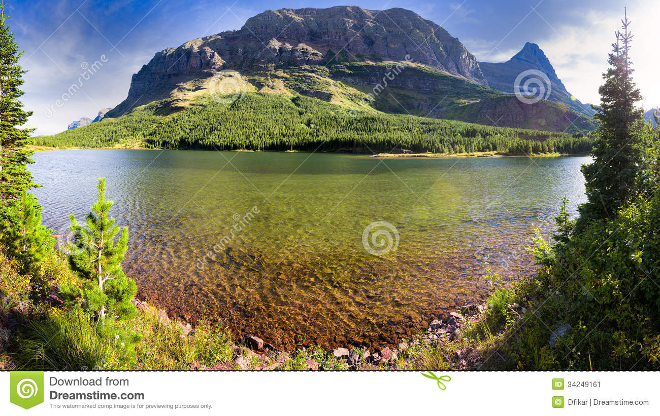 Red Rock Lake Panorama stock image. Image of glacier - 34249161