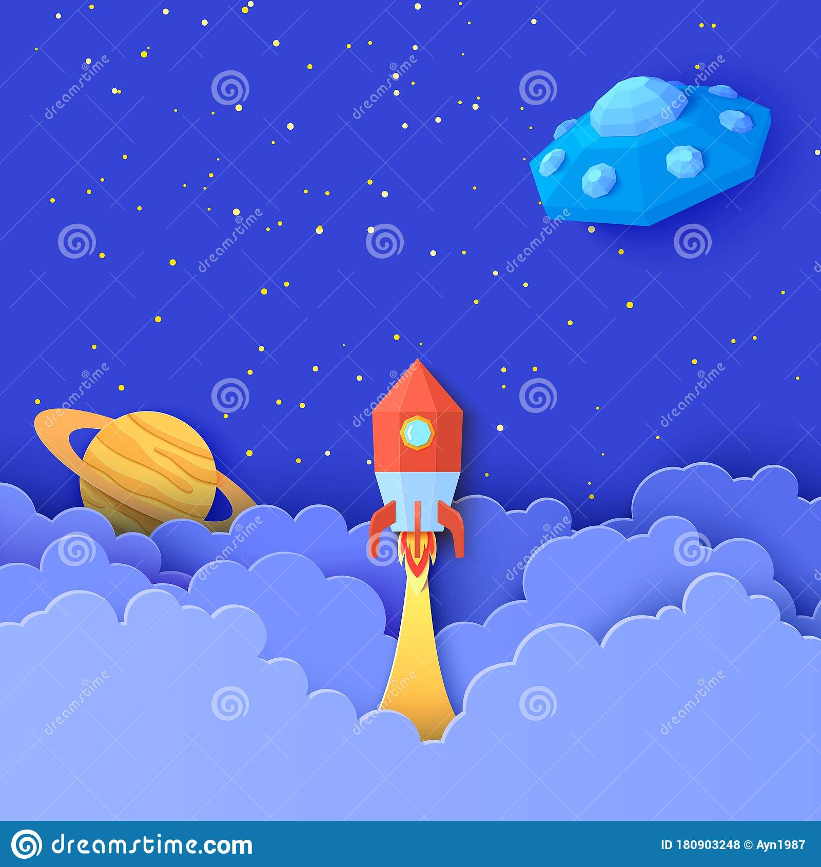 Red Rocket Launch In Space In Paper Cut Style Galaxy Universe Landscape 3d Craft Background With Flying Saucer In Stock Vector Illustration Of Education Layered 180903248