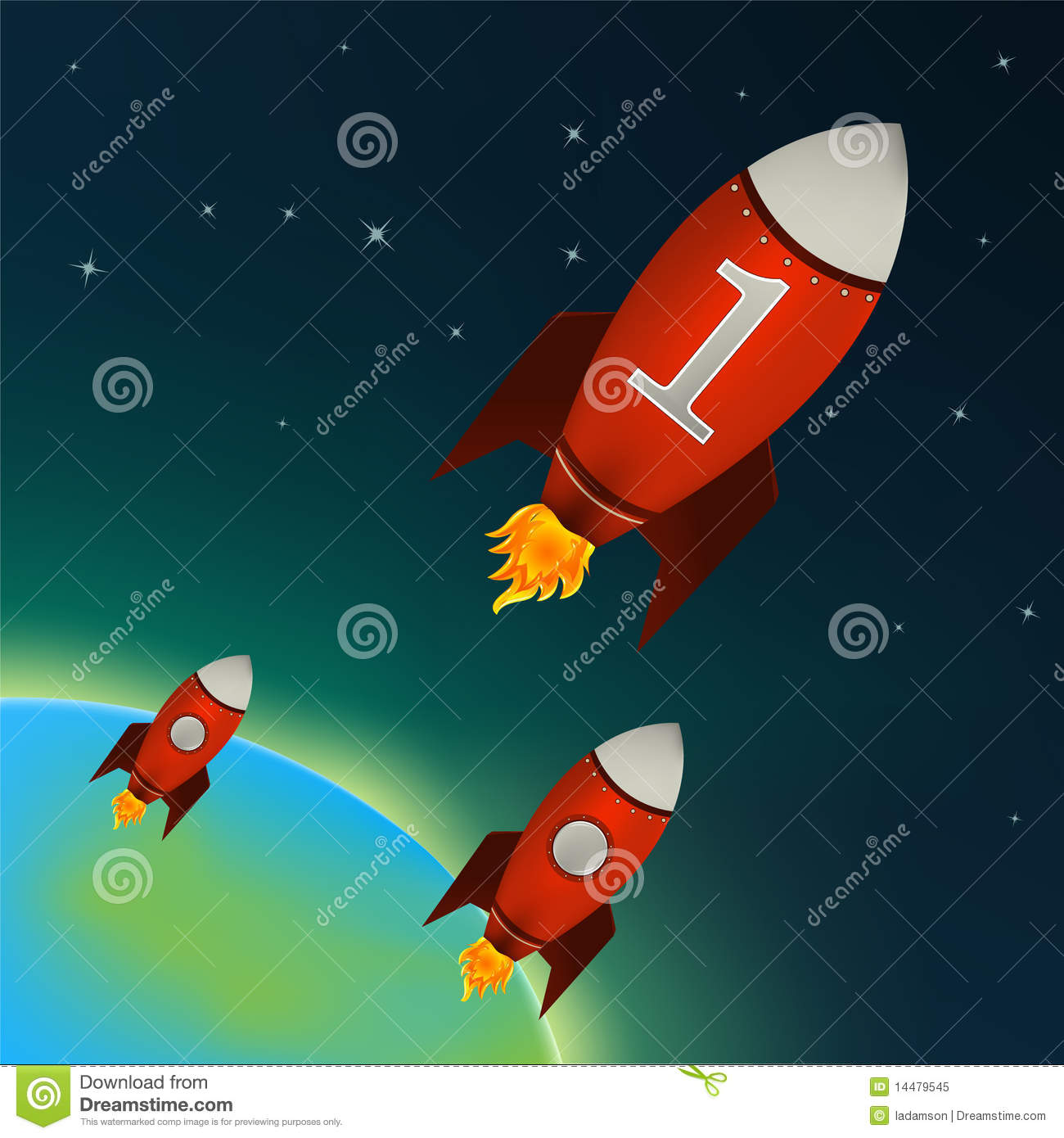 red rockets flying in outer space vector royalty free stock photo