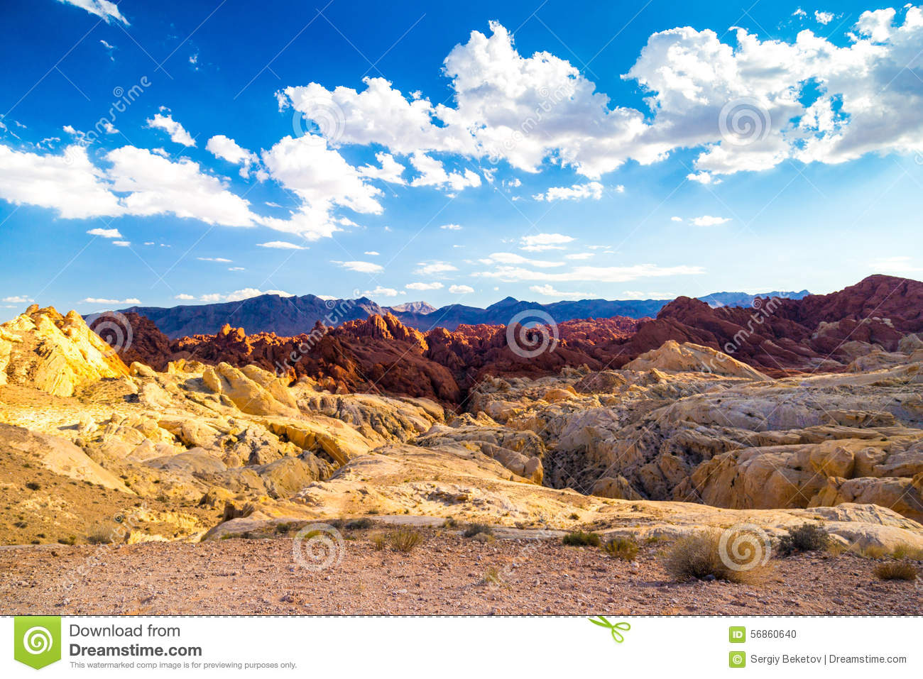 Red rocks amid blue sky in Valley of Fire State Park, Nevada