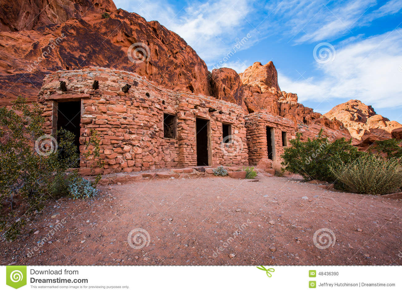 Red rocks used to form shelter in desert