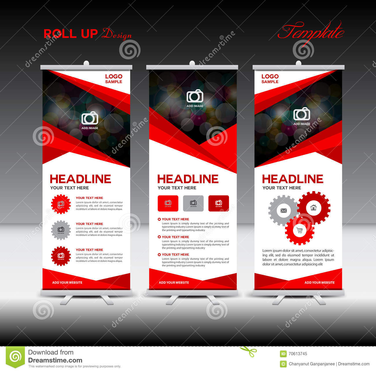 red roll up banner template and info graphics stand design bann