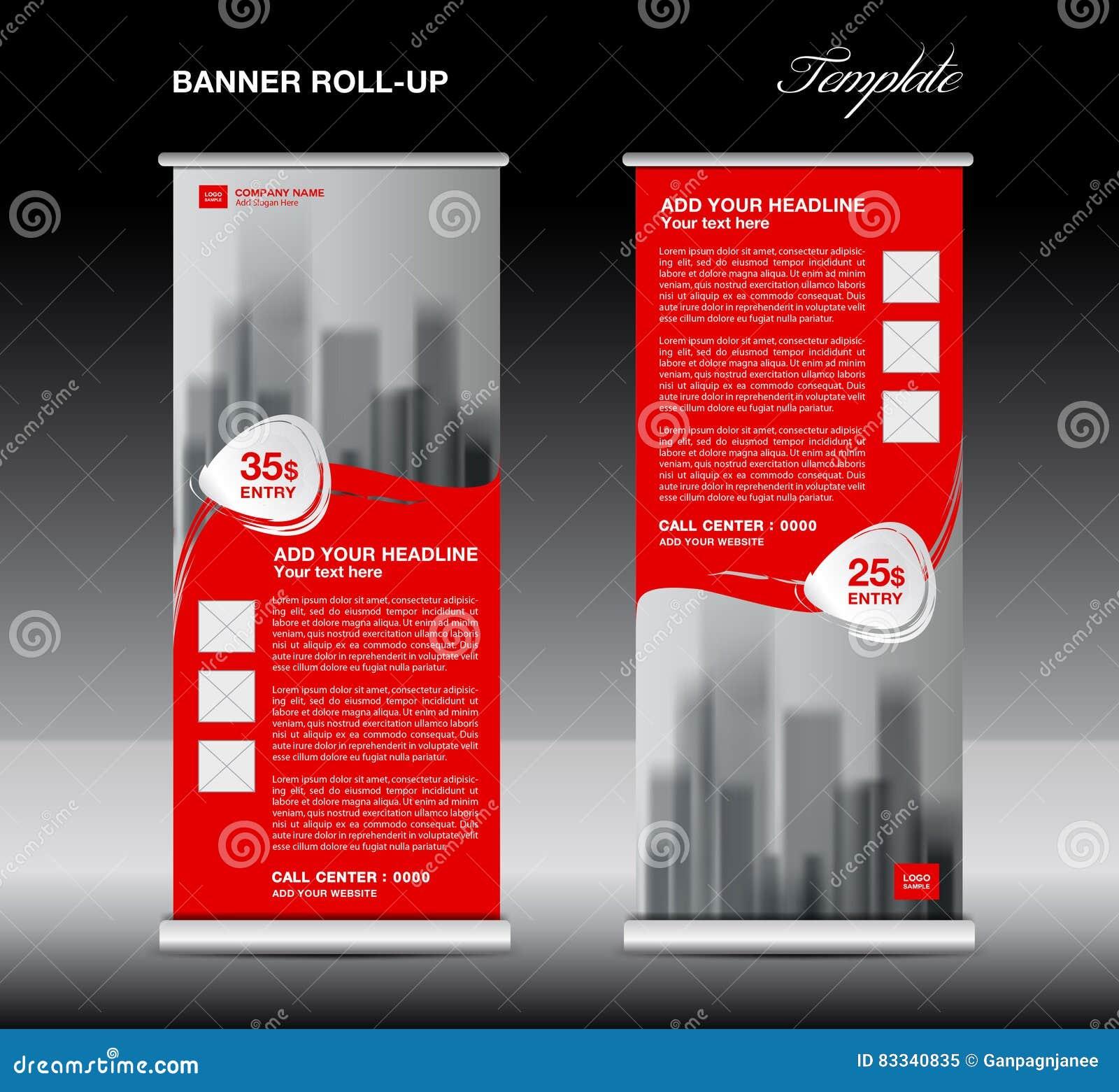 red roll up banner template vector flyer advertisement poster stock vector illustration. Black Bedroom Furniture Sets. Home Design Ideas
