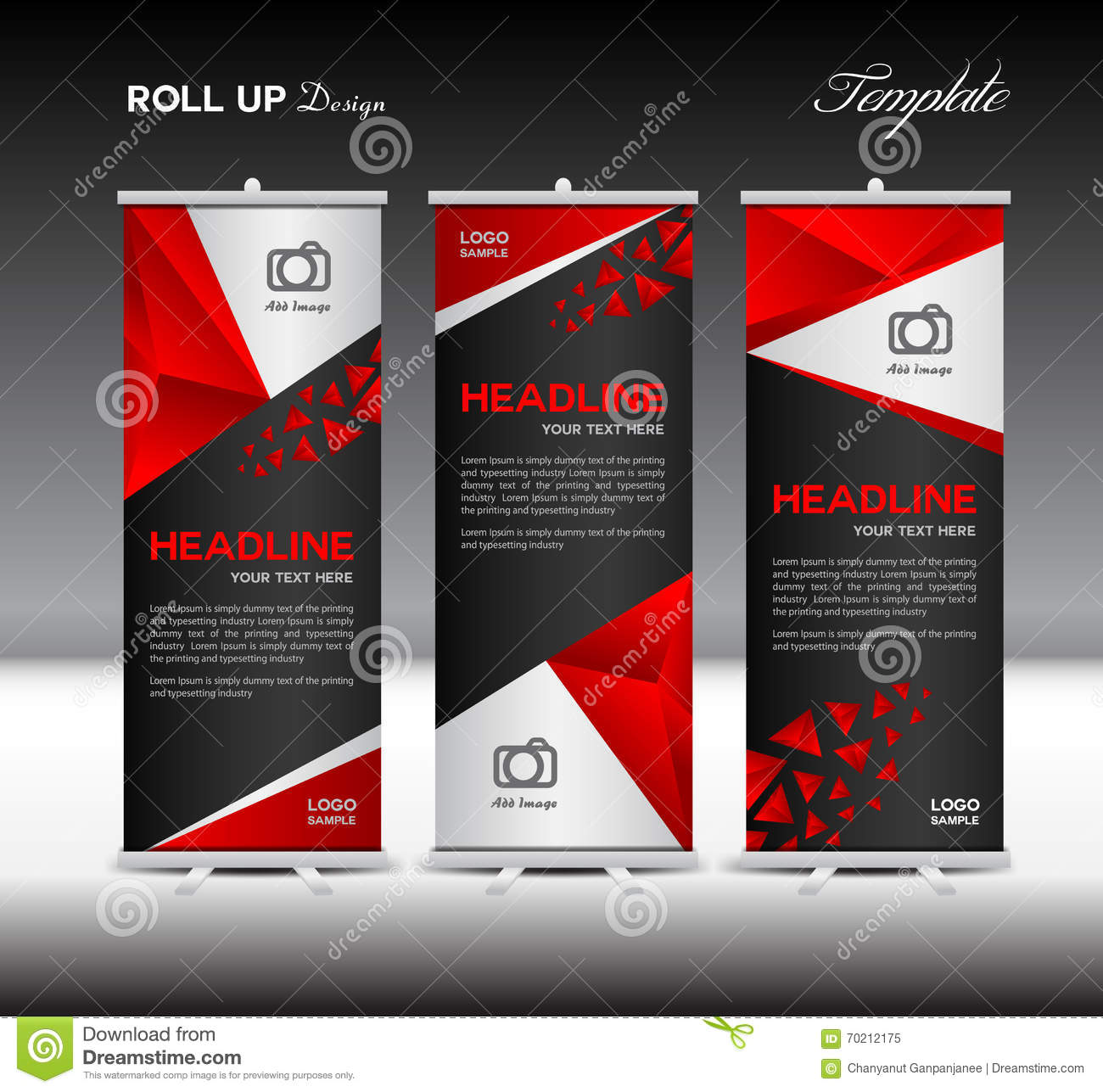 red roll up banner template vector illustration banner. Black Bedroom Furniture Sets. Home Design Ideas